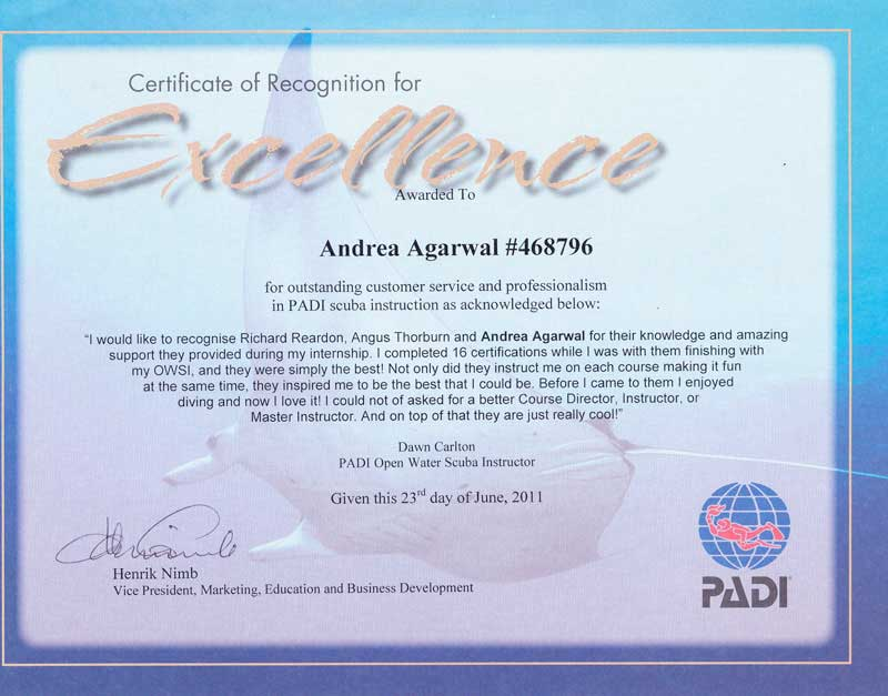 Padi Certificate Excellence Dawn Carlton Tsd Thresher