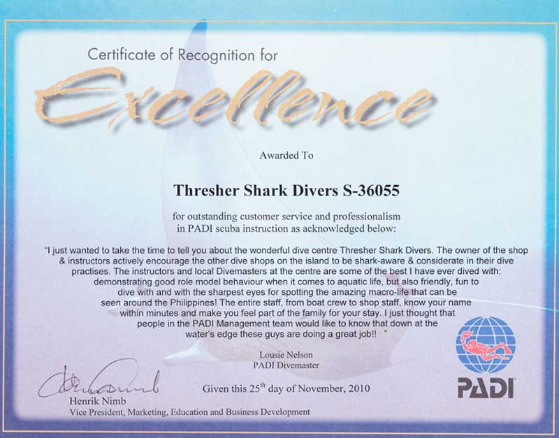 Padi Certificate Excellence Louise Nelson Tsd Thresher